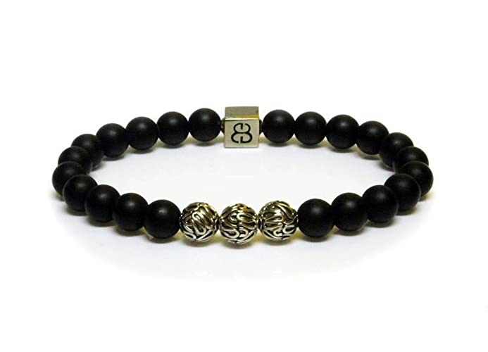 item black howlite beads fashion mens white naturalstone bracelet matte onyx mala agate