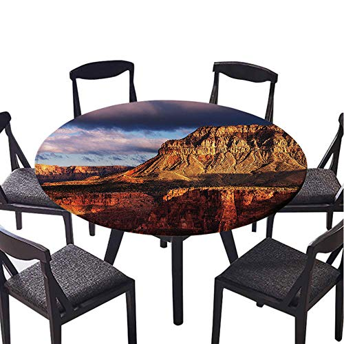SATVSHOP Vinyl Table Cloth-40 Round-Indoor Outdoor Camping Picnic Circle Table Cloth,House Canyon in Colorado Plateau with ocks iver Stream Geological Mystery Formed Orange Grey.(Elastic Edge) ()