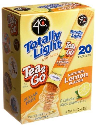 4C Totally Light Tea 2 Go Lemon Ice Tea Mix, Sugar Free, 20-Count Boxes (Pack of 3)