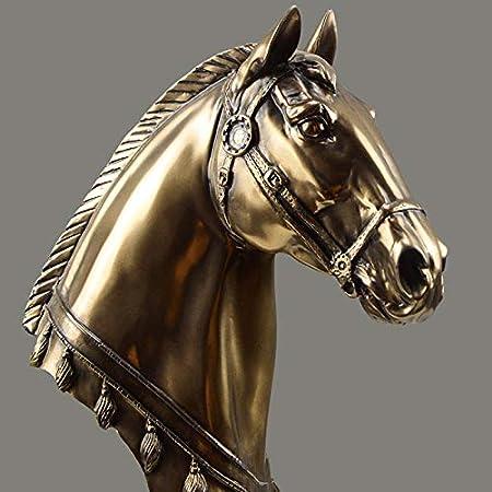 LKXZYX Boda Decoracion Figuras de Grandes Salon candelabros Jardin Exterior,Gold Horse Head Art Statue Sala de Estar Dormitorio Adornos Regalos geométricos: Amazon.es: Hogar