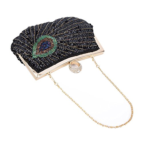 Wedding Bag Clutch Handbag Black Beaded Evening Baglamor Shining Peacock Purse Rhinestone Sequins fE8xwvqX