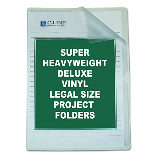 C-Line Deluxe Super Heavyweight Non-Glare Vinyl Project Folders, Legal Size, Clear, 50 per Box (62139) (Legal Size Clear Folder)