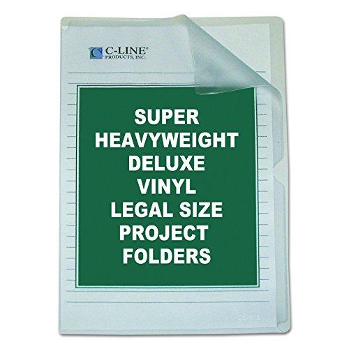 C-Line Deluxe Super Heavyweight Non-Glare Vinyl Project Folders, Legal Size, Clear, 50 per Box -