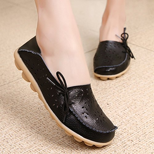 KALEIDO New Size Version Womens Hollow Out Carving Casual Cowhide Leather Driving Flat Loafers Shoes Black 2OP2G48Dw