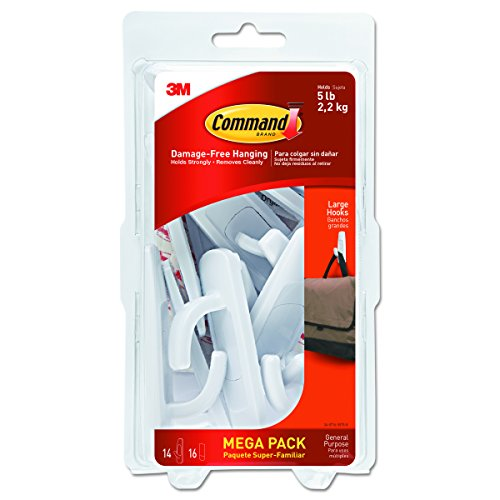 Miscellaneous Rod - Command Large Utility Hook Mega Pack, White, 14-Hooks, 16-Strips (17003-MPES)