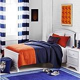 Full/Queen Color Block Microfiber Quilt Set, Navy/Orange