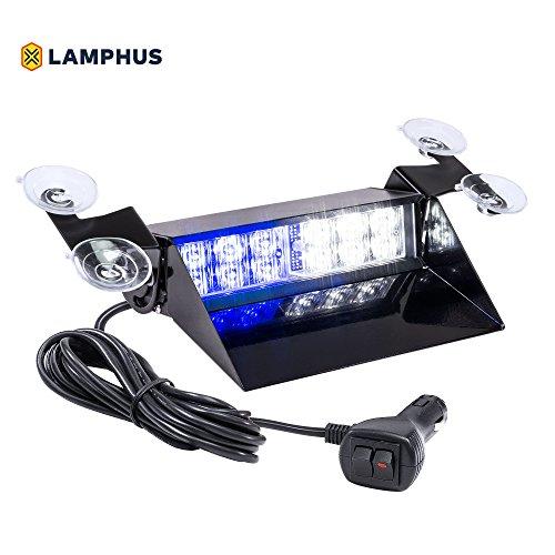 Corner Strobe - LAMPHUS SolarBlast SBWL26 Emergency Vehicle LED Dash Light [12W LED] [32 Flash Patterns] [Adjustable Mounting] [Multiple Colors Available] - Strobe Light for Dash, Deck & Windshield - Blue White