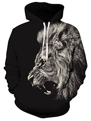 Fleece Pants Hoodie (Leapparel Men 3D Printed Hoodies Black Graphic Gaxaly Pullover Couples Fleece Hoody Sweater Sweatshirts Cool Hoody M)