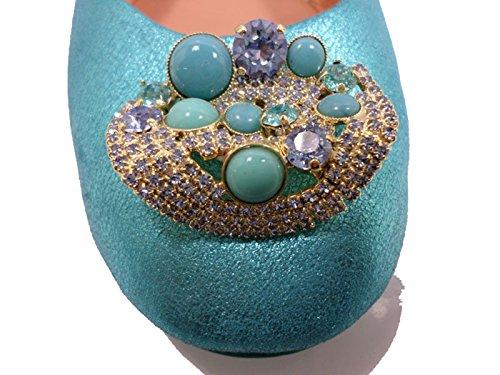 Chaussures Femme EDDY DANIELE 37 ballerines bleu clair cuir AW677