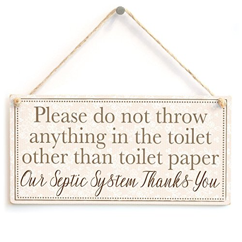 Meijiafei Please do not throw anything in the toilet other than toilet paper Our Septic System Thanks You - Polite and Informative Septic Tank Sign 10