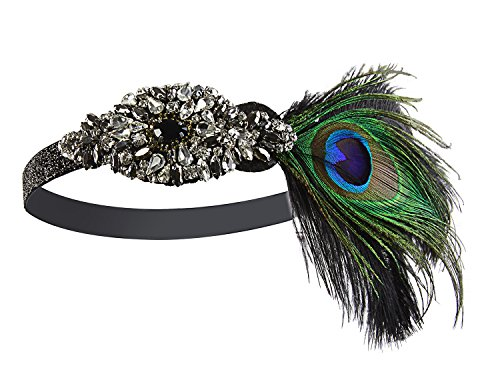 Peacock Flapper Headband (Vijiv Black Silver 20s Headpiece Vintage 1920s Headband Flapper Great Gatsby)