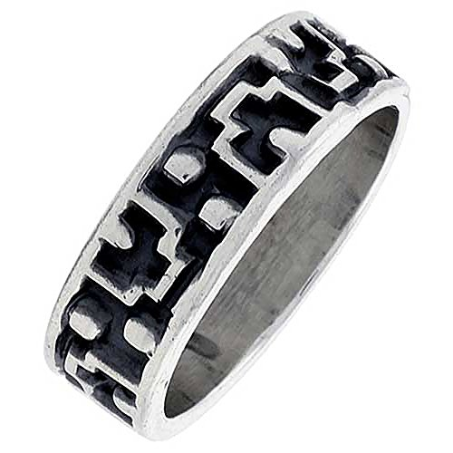 Sterling Silver Native American Navajo Pattern Ring Southwestern Design Handmade 1/4 inch Wide, Size 9