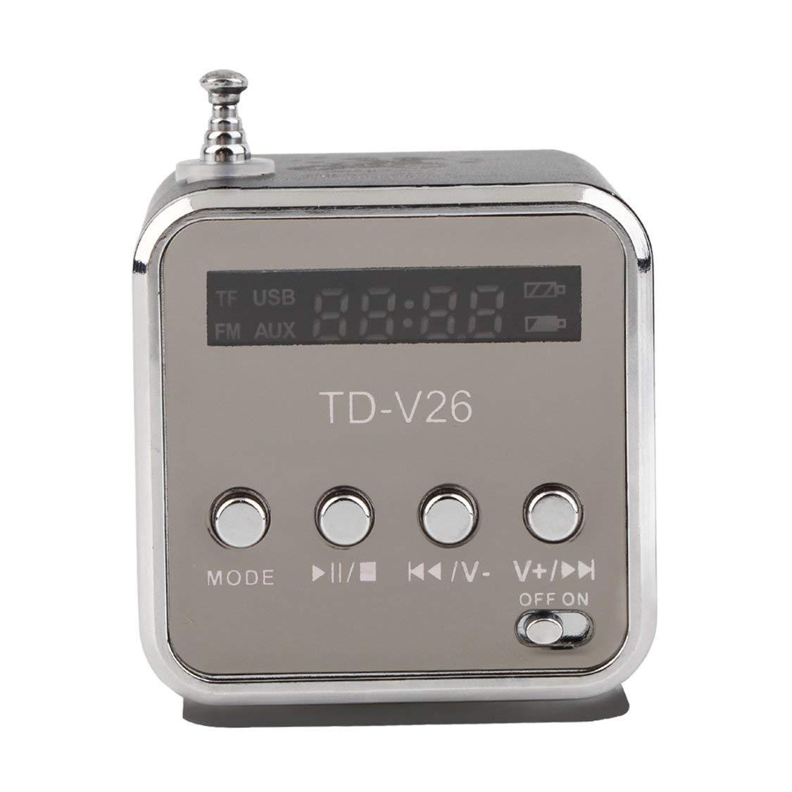 Micro TF USB Mini Altavoz port/átil Reproductor de m/úsica Radio FM port/átil Equipo de m/úsica port/átil con Reproductor de MP3 MP4 y Mini Altavoz