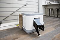 Covered Cat Litter Box - Removable Hooded Top Cover for Easy Cleaning - Stylish Modern White - Washable Cushion - Comfy Pet Bed - Cardboard Scratcher Post Toy - Scooper - Charcoal Filter