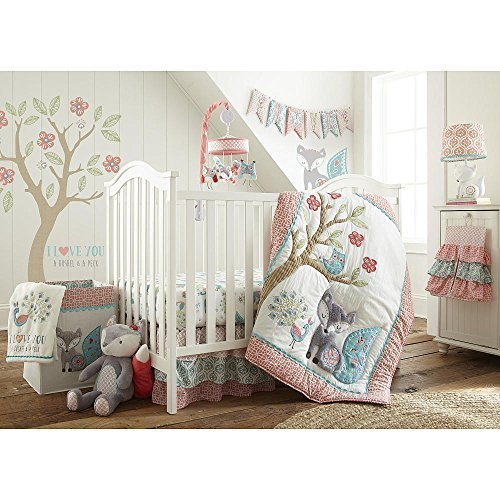 Levtex kid Fiona 5 Piece Crib Bedding Set, Quilt, 100% Cotton Crib Fitted Sheet, 3-tiered Dust Ruffle, Diaper Stacker and good sized Wall Decals