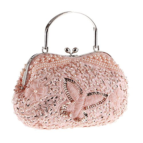 (Womens Vintage Jewels Beaded Evening Clutch Bag Top-handle Prom Party Purse Formal Handbag(Pink Kissing Lock))