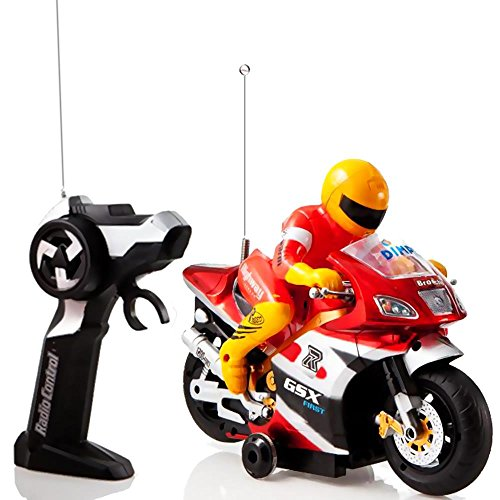 Red and Gold 'Speed Demon' Electric Radio Remote Controlled Racing Motorcycle with Driver, Lights & Sound Effects by Dimple