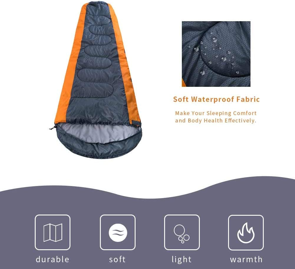 Single PORLAE Camping Sleeping Bag Envelope Lightweight Portable Waterproof Comfort with Compression Sack Great for Traveling Hiking and Outdoor Activities