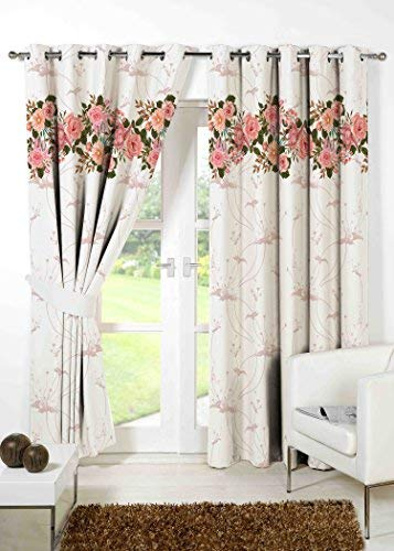 B7 CREATIONS Polyester Canvas Matte Floral Digital Printed-Curtain for Door (7 Feet, Multicolour)