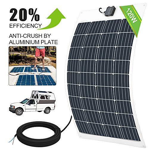 ECO-WORTHY 100W 120W 150 W 18 V flexibel ultraleicht Poly-PV-Solarpanel Photovoltaik für Boote Wohnmobil Auto Zelt oder andere unregelmäßige Oberflächen SolarModul