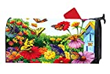 Personalized Magnetic Mailbox Cover Dreams Flowers Garden Butterflies Spring Summer,Spring Summer MailWrap Mailbox Makeover Cover - Vinyl with Full-surface Magnet on Back