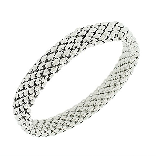 EDFORCE Stainless Steel White Gold Silver-Tone Mesh Narrow Stretch Bangle Bracelet (Bracelet Stretch Mesh)