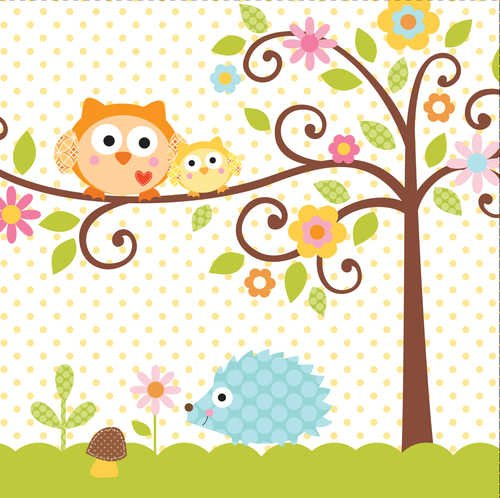 Creative Converting 16-Count Paper Lunch Napkins, Happi Tree Sweet Baby - 667128 -