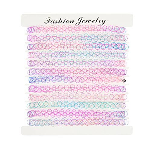 12PC Set Choker Set Rainbow Gothic Double Line Henna Tattoo Rubber Classic Stretch Elastic Necklace