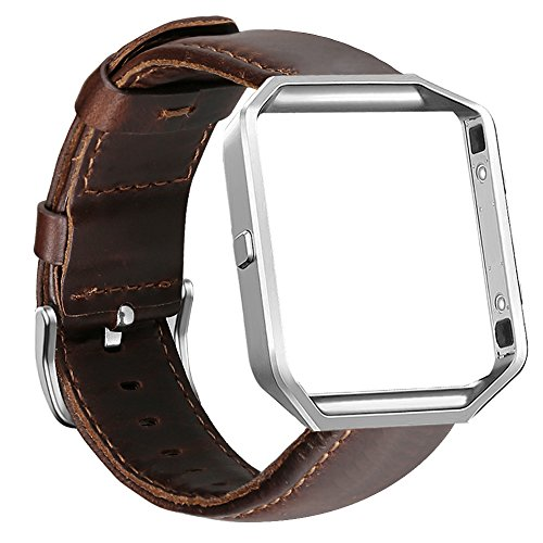UMAXGET For Fitbit Blaze Bands, Genuine Leather Replacement Band with Silver Metal Frame Dark Brown Large (Dark Brown Leather Band)