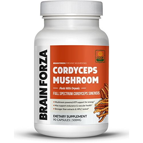 Brain Forza Organic Cordyceps Sinensis Mushroom for Energy & Endurance Support, 90 Capsules ()