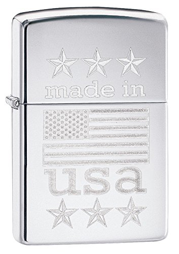 Zippo Made In Usa with Flag Pocket Lighter, High Polish Chrome