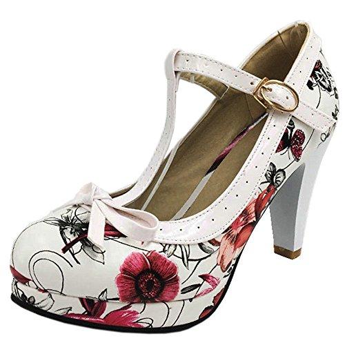 Zapatos RAZAMAZA Tacon Mujer con Alto Flower Red Court Cerrado Hebilla aqvFwZx1