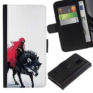 Protector de cuero de la PU de la cubierta del estilo de la carpeta del tirón BY RAYDREAMMM - Samsung Galaxy S5 V SM-G900 - Red Riding Hood & Evil Lobo