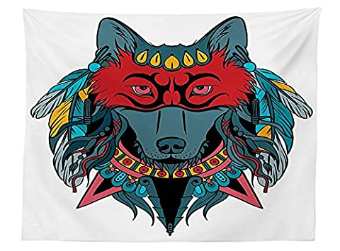 vipsung Tribal Tablecloth Indian Warrior Wolf Portrait with Mask Feathers Native American Animal Art Dining Room Kitchen Rectangular Table Cover Teal White and - Native American Art Masks