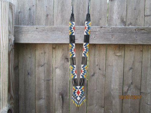 Hand beaded blue yellow red white black Guatemalan central american Native design necklace fair trade southwest glass seed beads. Aztec Indian design Ethnic beads bead work