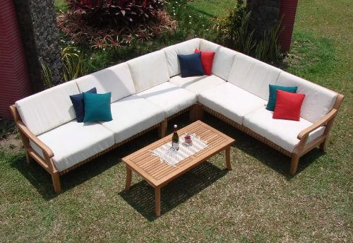 New-Luxurious-5-Piece-Teak-Sofa-Set-2-SofasLeft-Right-1-Lounge-Armless-Chair-1-Corner-Piece-1-Coffee-Table-Furniture-Set-Cushions-Set-Both-Items-Sold-Separately-Choose-correct-option-Giva-Collection-W