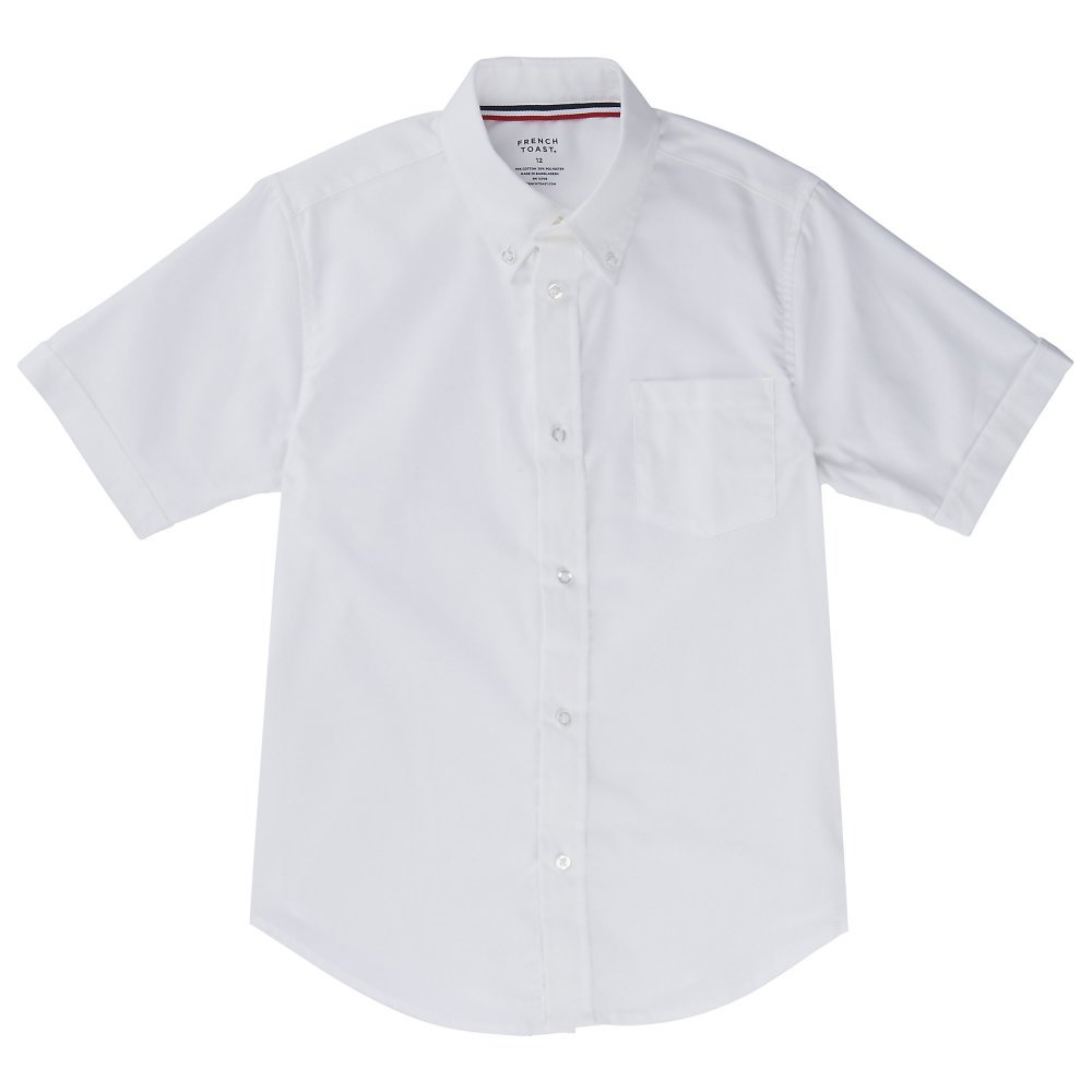 French Toast Men Short Sleeve Oxford Shirt, White, Large