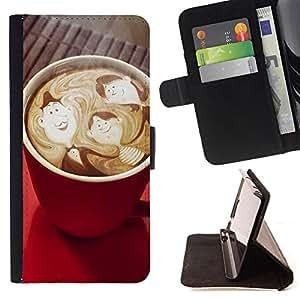 Devil Case- Estilo PU billetera de cuero del soporte del tir¨®n [solapa de cierre] Cubierta FOR LG G3 LG-F400 D802 D855 D857 D858 - Coffee Cup Patten Art