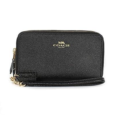 Coach Crossgrain Leather Double Zipper Phone Wristlet Wallet F57467 (Black)