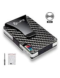 Dlife Carbon Fiber Men Mini Wallet Money Clip Screw Fixation Elastic Band + 1 Screwdriver & 4 Extra Screws