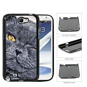 Cute Black Gray Cat Eye Wink Yellow Eyes Hard Snap on Phone Case Cover Samsung Galaxy Note 2 N7100