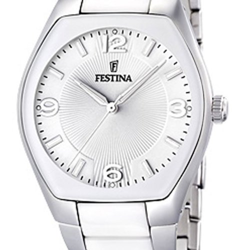 Amazon.com: Festina Womens White Ceramic Quartz Watch Bracelet Silver Dial F165321: Festina: Watches