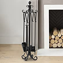 5 Pieces Scroll Fireplace Tools Set Black Cast Iron Fire Place Toolset with Log Holder Fireset Fire Pit Stand Rustic Tongs Shovel Antique Broom Chimney Poker Wood Stove Hearth Accessories Set