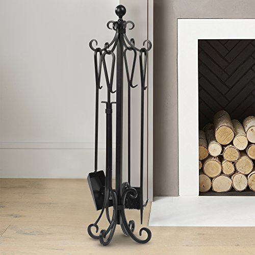 5 Pieces Scroll Fireplace Tools Set Black Cast Iron Fire Place Toolset with Log Holder Fireset Fire Pit Stand Rustic Tongs Shovel Antique Broom Chimney Poker Wood Stove Hearth Accessories Set Brass Fireplace Log