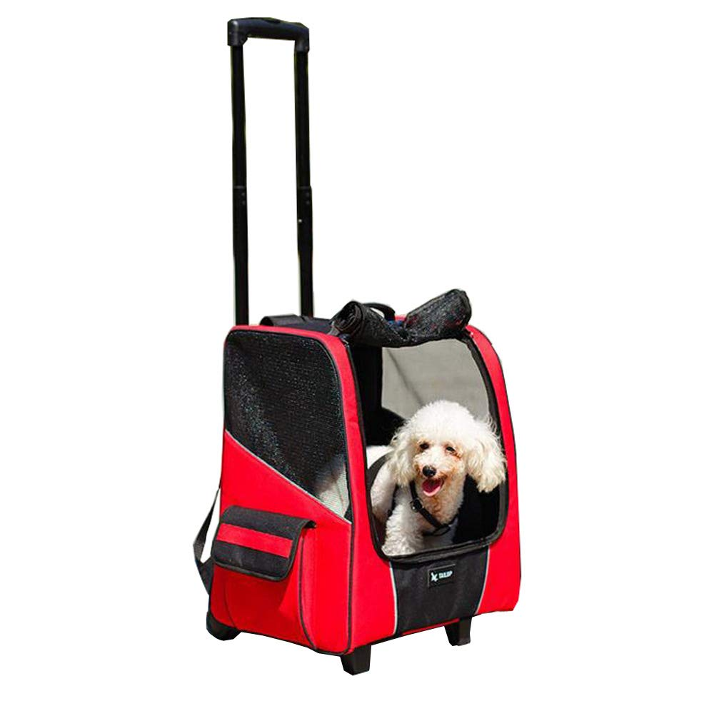 Red LYM FrontPet Rolling Pet Travel Carrier Pet Carrier with Wheels with Backpack Straps (Red)