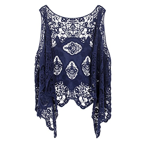 jastie Open Stitch Cardigan Boho Hippie Crochet Vest (Dark Blue),Medium ()