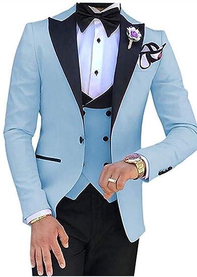 CALVINSUIT Hombre Traje Conjunto de Traje de Vestir con Cuello en V de 3 Piezas de Corte Slim para Hombre