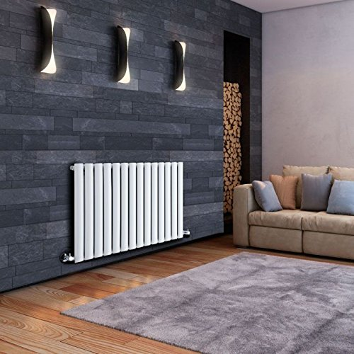 Hudson Reed - Revive Horizontal Radiator With Chrome Valves & Fixing Pack Included In White - 25