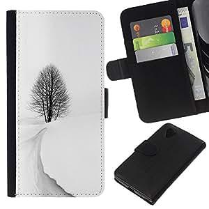 WINCASE Cuadro Funda Voltear Cuero Ranura Tarjetas TPU Carcasas Protectora Cover Case Para LG Nexus 5 D820 D821 - invierno tormenta de nieve negro árbol blanco hermosa