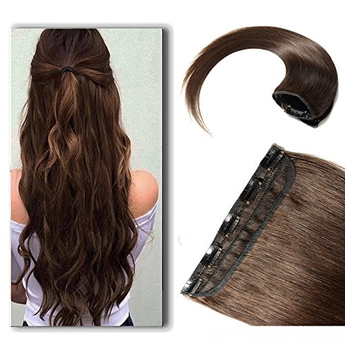 16 Inch Clip in Extensions 100% Remy Human Hair 45g One-piece 5 Clips Long Straight Hair Extensions for Women Wide Weft Soft Silky #2 Dark Brown